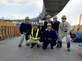 横浜本牧の鋼床版橋建設現場見学 集合写真